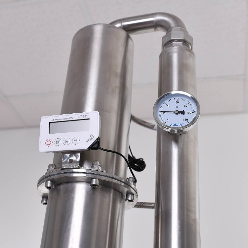 Csököteges deflegmátor és véghűtő szerelvényekkel, hőmérőkkel - alap, közép, profi