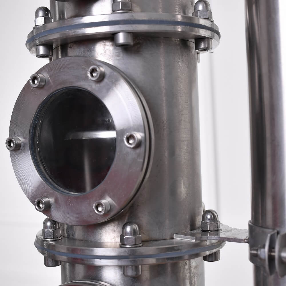 Szitatányéros oszloprész 73 mm nézőüveggel, szétszedhető karima kötések - alap, közép, profi